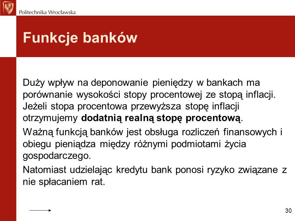 30 Funkcje banków Duży wpływ na deponowanie pieniędzy w bankach ma porównanie wysokości stopy procentowej ze stopą inflacji. Jeżeli stopa procentowa p