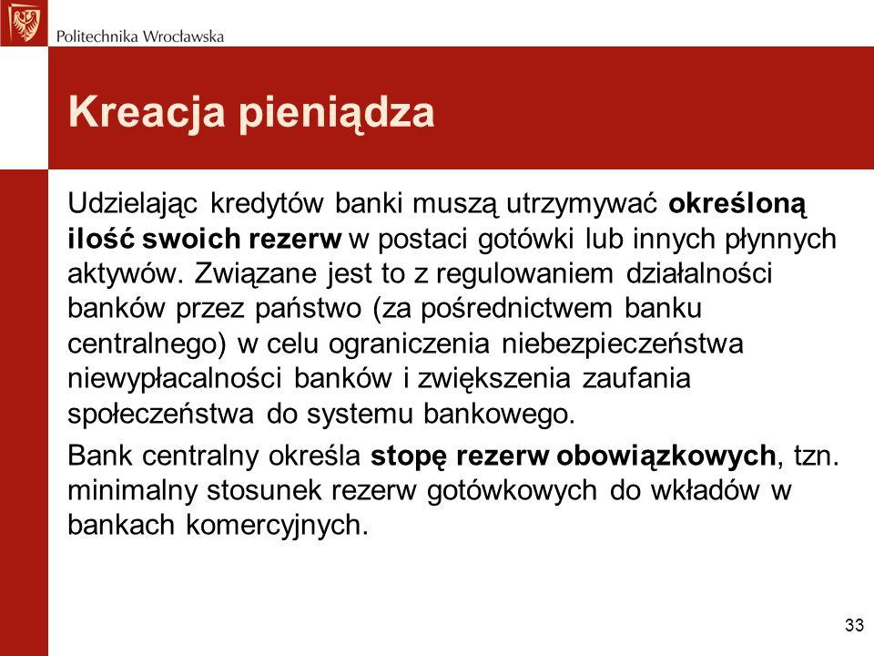 33 Kreacja pieniądza Udzielając kredytów banki muszą utrzymywać określoną ilość swoich rezerw w postaci gotówki lub innych płynnych aktywów. Związane