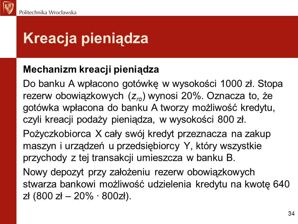34 Kreacja pieniądza Mechanizm kreacji pieniądza Do banku A wpłacono gotówkę w wysokości 1000 zł. Stopa rezerw obowiązkowych (z ro ) wynosi 20%. Oznac