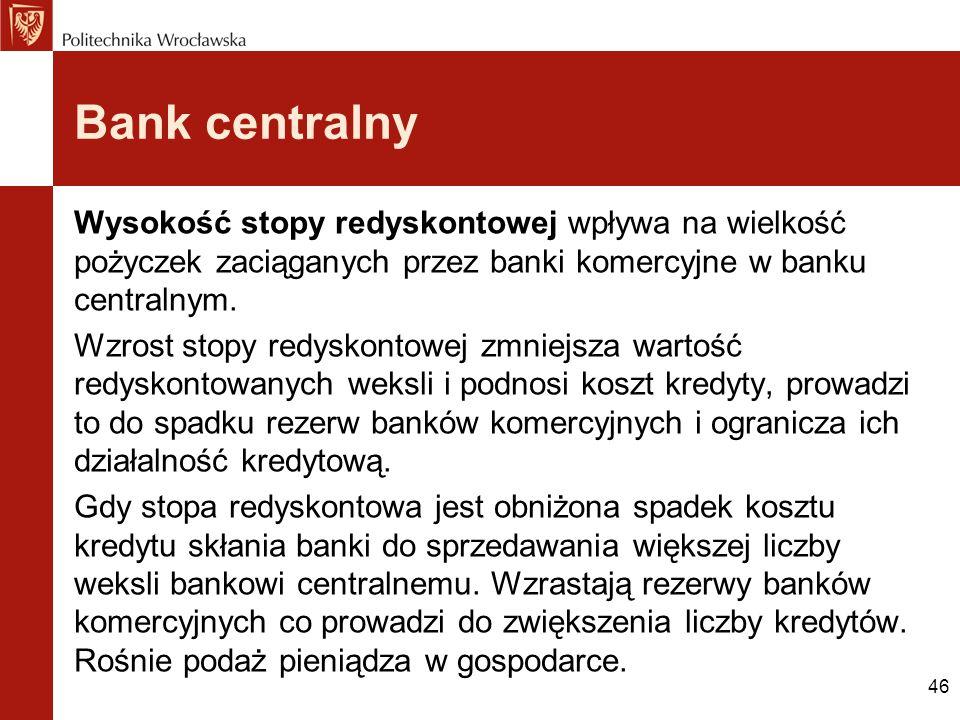 46 Bank centralny Wysokość stopy redyskontowej wpływa na wielkość pożyczek zaciąganych przez banki komercyjne w banku centralnym. Wzrost stopy redysko