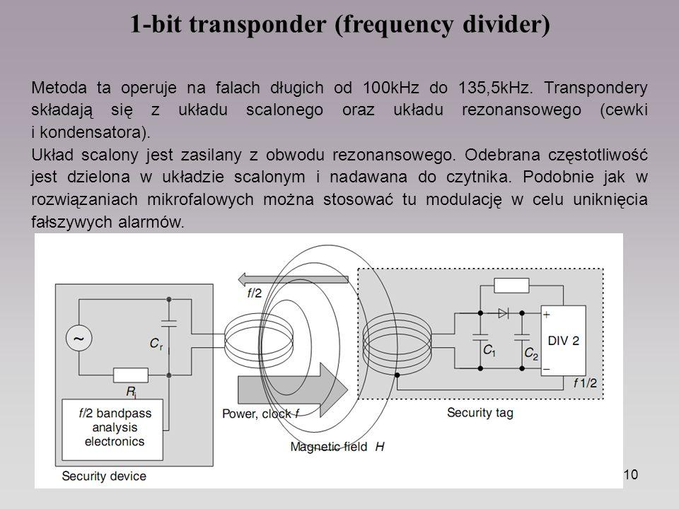 10 1-bit transponder (frequency divider) Metoda ta operuje na falach długich od 100kHz do 135,5kHz. Transpondery składają się z układu scalonego oraz