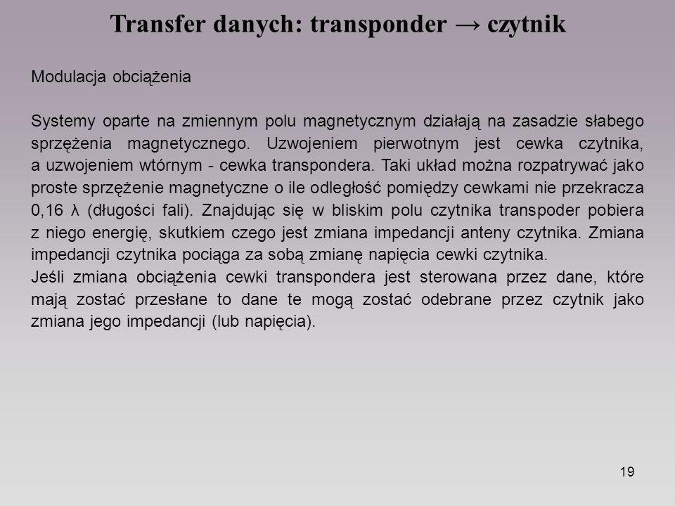 19 Transfer danych: transponder → czytnik Modulacja obciążenia Systemy oparte na zmiennym polu magnetycznym działają na zasadzie słabego sprzężenia magnetycznego.