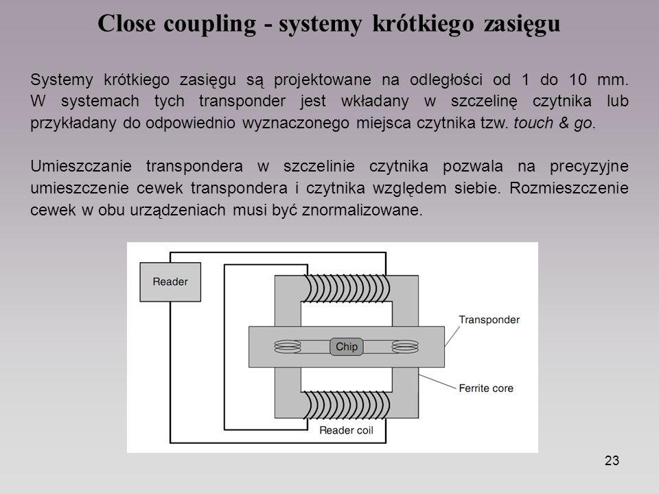 23 Close coupling - systemy krótkiego zasięgu Systemy krótkiego zasięgu są projektowane na odległości od 1 do 10 mm. W systemach tych transponder jest