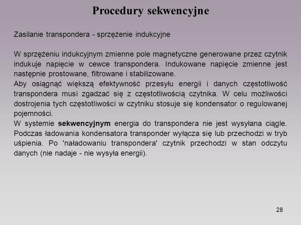 28 Procedury sekwencyjne Zasilanie transpondera - sprzężenie indukcyjne W sprzężeniu indukcyjnym zmienne pole magnetyczne generowane przez czytnik indukuje napięcie w cewce transpondera.