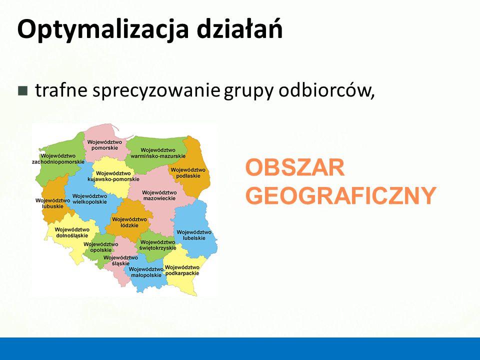 Optymalizacja działań trafne sprecyzowanie grupy odbiorców, OBSZAR GEOGRAFICZNY