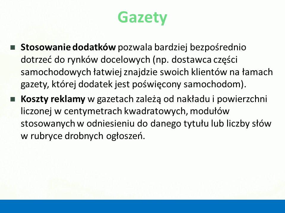 Reklama telewizyjna w opinii polskich przedsiębiorców Forma reklamyNajskuteczniej- sza wg % wskazań Wykorzysty- wana wg % wskazań Scenka rodzajowa Slogan reklamowy, hasło Piosenka reklamowa Program sponsorowany Poszerzona informacja handlowa Krótka informacja handlowa Wiersz reklamowy 48 15 11 8 4 3 0,6 63 31 17 12 15 29 3