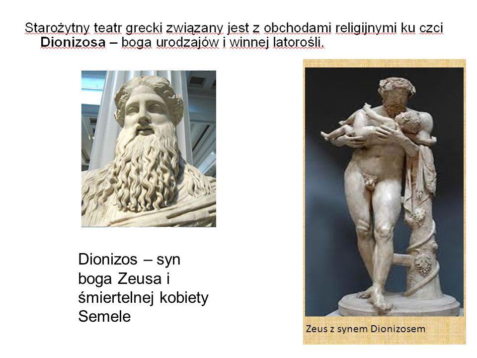 Atrybuty Dionizosa - gałąź winorośli - tyrs (symboliczna laska) - maski tragiczne Symbole Dionizosa - byk - kozioł