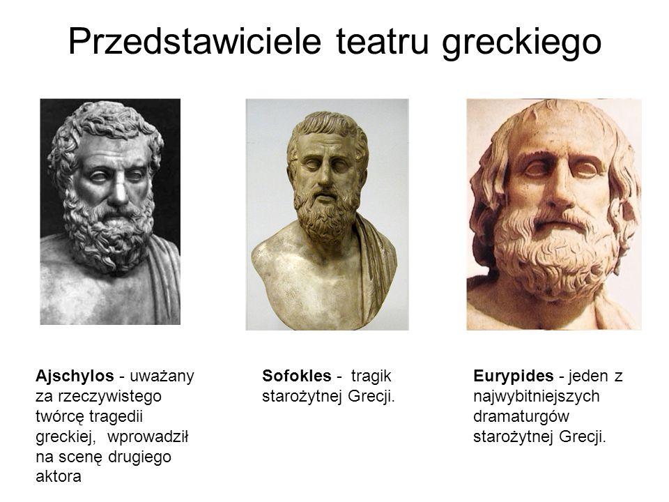 Przedstawiciele teatru greckiego Ajschylos - uważany za rzeczywistego twórcę tragedii greckiej, wprowadził na scenę drugiego aktora Sofokles - tragik
