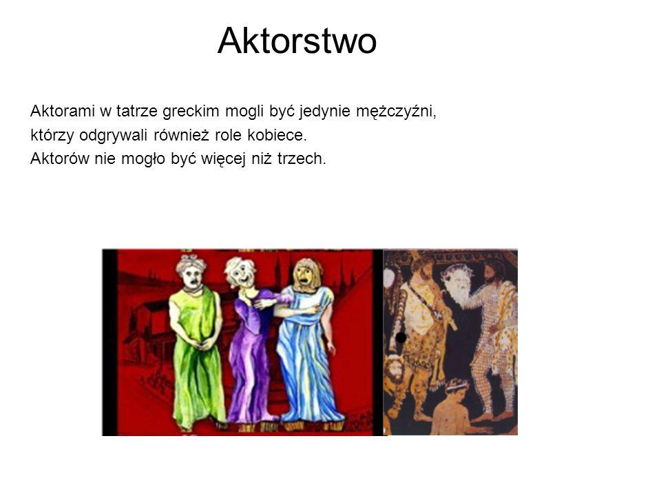 Aktorstwo Aktorami w tatrze greckim mogli być jedynie mężczyźni, którzy odgrywali również role kobiece. Aktorów nie mogło być więcej niż trzech.