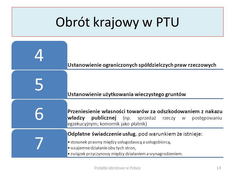 Obrót krajowy w PTU Ustanowienie ograniczonych spółdzielczych praw rzeczowych 4 Ustanowienie użytkowania wieczystego gruntów 5 Przeniesienie własności towarów za odszkodowaniem z nakazu władzy publicznej (np.