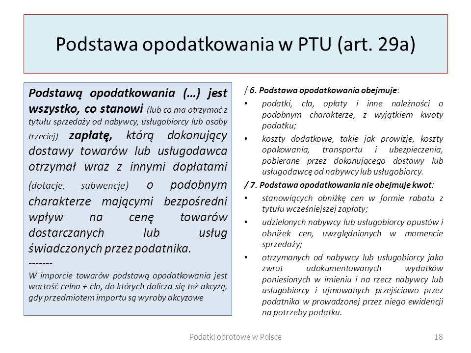 Podstawa opodatkowania w PTU (art.
