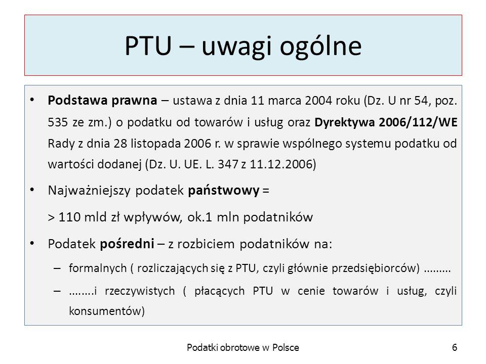 Obowiązek podatkowy w PTU Przedmiot opodatkowania Kiedy powstaje obowiązek podatkowy.