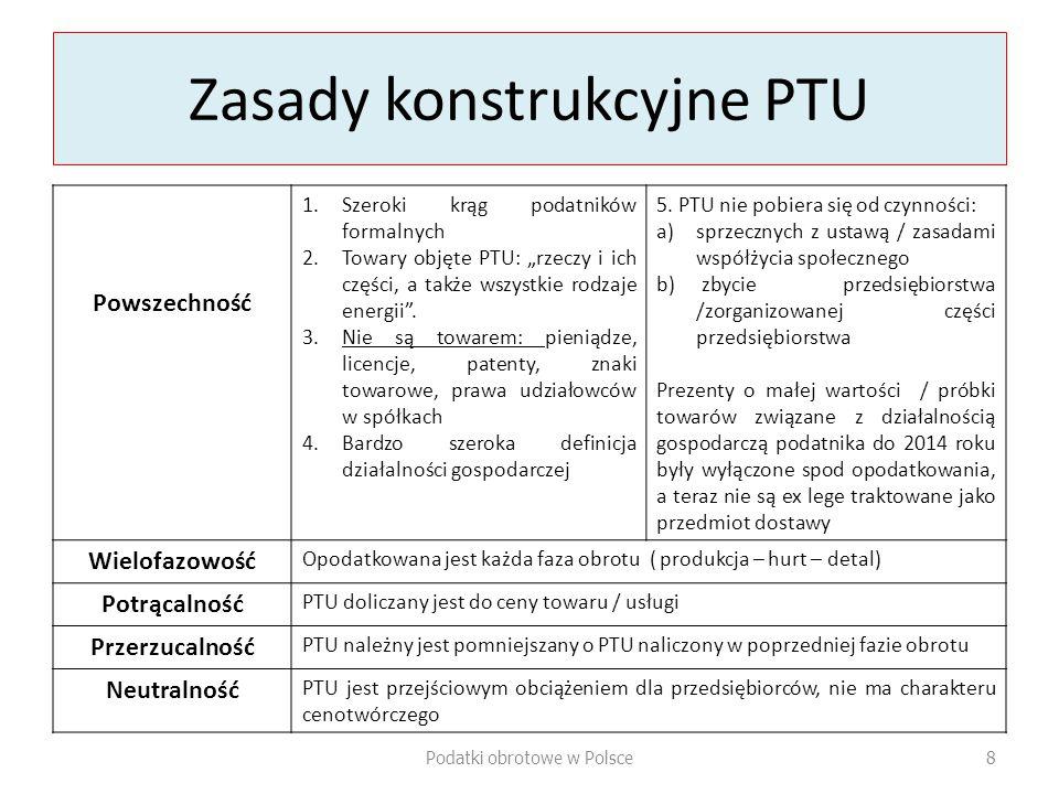 """Zasady konstrukcyjne PTU Powszechność 1.Szeroki krąg podatników formalnych 2.Towary objęte PTU: """"rzeczy i ich części, a także wszystkie rodzaje energii ."""