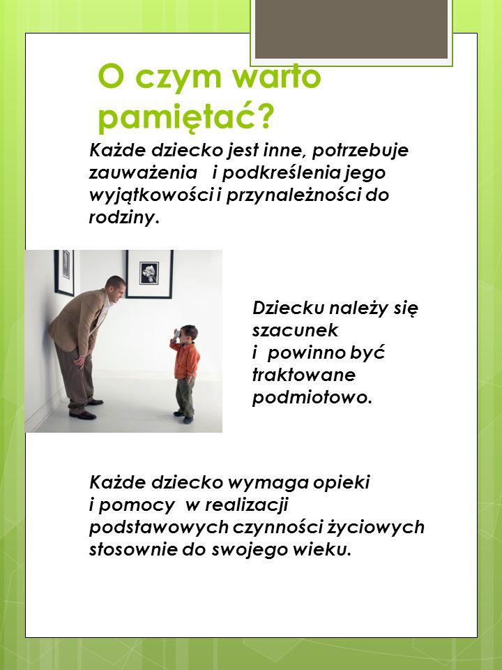 Każde dziecko wymaga opieki i pomocy w realizacji podstawowych czynności życiowych stosownie do swojego wieku.