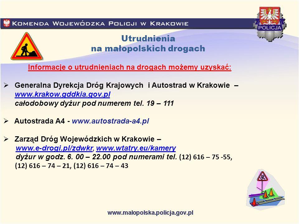 Utrudnienia na małopolskich drogach Informacje o utrudnieniach na drogach możemy uzyskać:  Generalna Dyrekcja Dróg Krajowych i Autostrad w Krakowie –