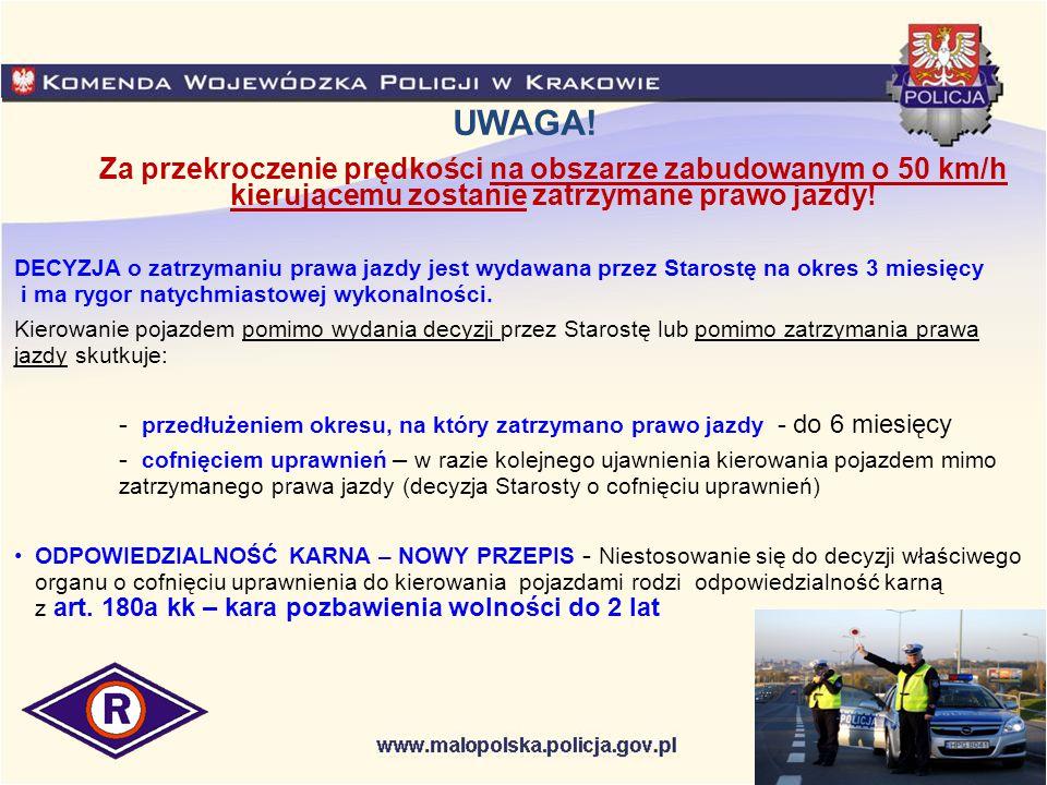 Policja przeciw pijanym kierującym Wydział Ruchu Drogowego KWP w Krakowie w 2006 roku wprowadził na terenie Małopolski zaostrzoną procedurę kontrolną badania stanu trzeźwości kierujących.