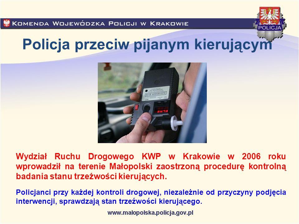 Policja przeciw pijanym kierującym Wydział Ruchu Drogowego KWP w Krakowie w 2006 roku wprowadził na terenie Małopolski zaostrzoną procedurę kontrolną
