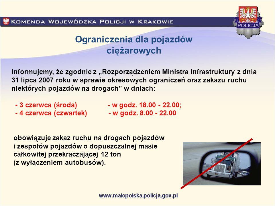 """Informujemy, że zgodnie z """"Rozporządzeniem Ministra Infrastruktury z dnia 31 lipca 2007 roku w sprawie okresowych ograniczeń oraz zakazu ruchu niektór"""