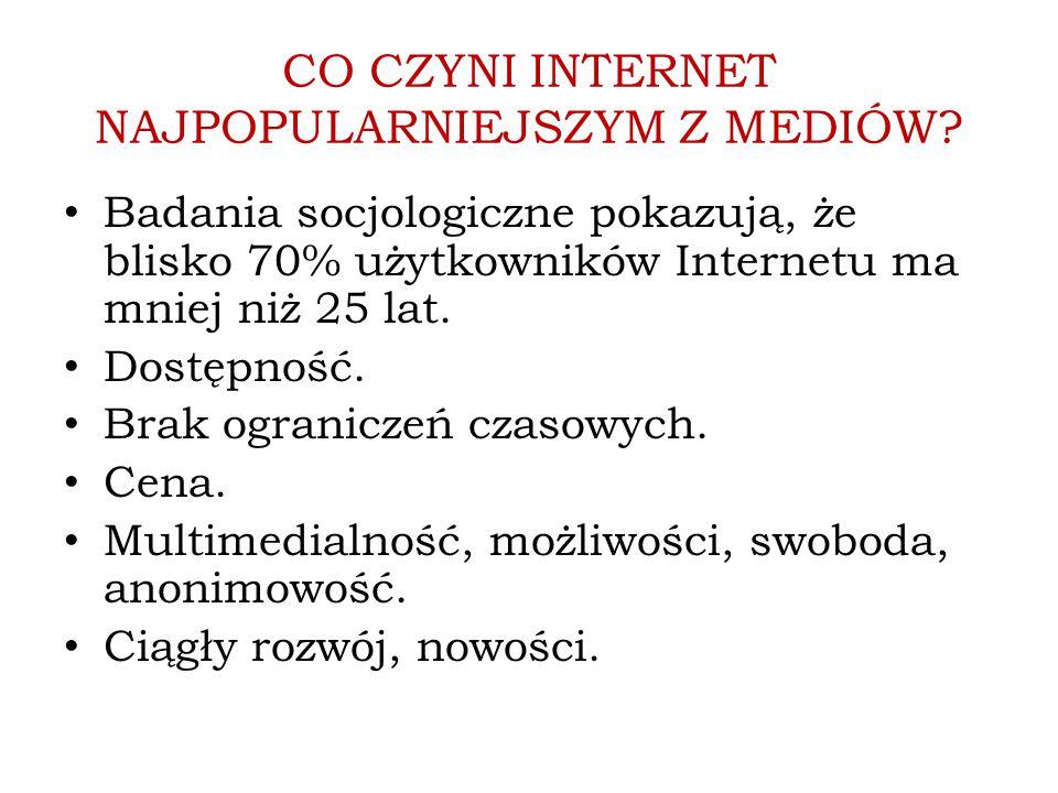 CO CZYNI INTERNET NAJPOPULARNIEJSZYM Z MEDIÓW? Badania socjologiczne pokazują, że blisko 70% użytkowników Internetu ma mniej niż 25 lat. Dostępność. B