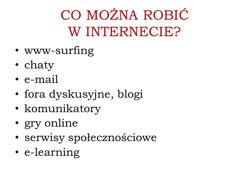 CO MOŻNA ROBIĆ W INTERNECIE? www-surfing chaty e-mail fora dyskusyjne, blogi komunikatory gry online serwisy społecznościowe e-learning