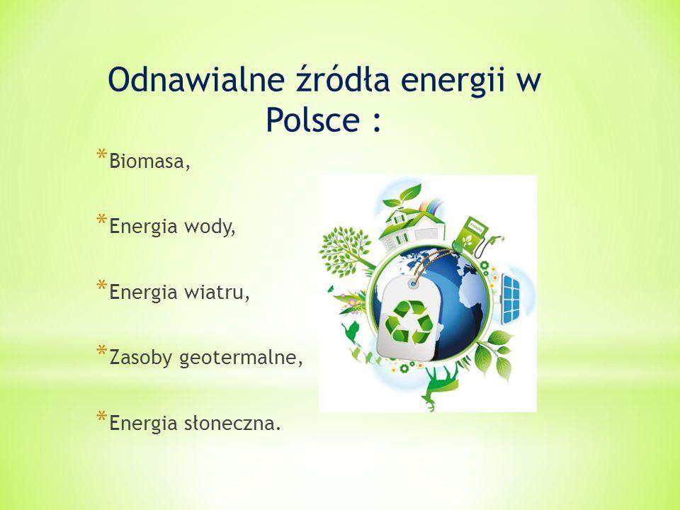 Odnawialne źródła energii w Polsce : * Biomasa, * Energia wody, * Energia wiatru, * Zasoby geotermalne, * Energia słoneczna.