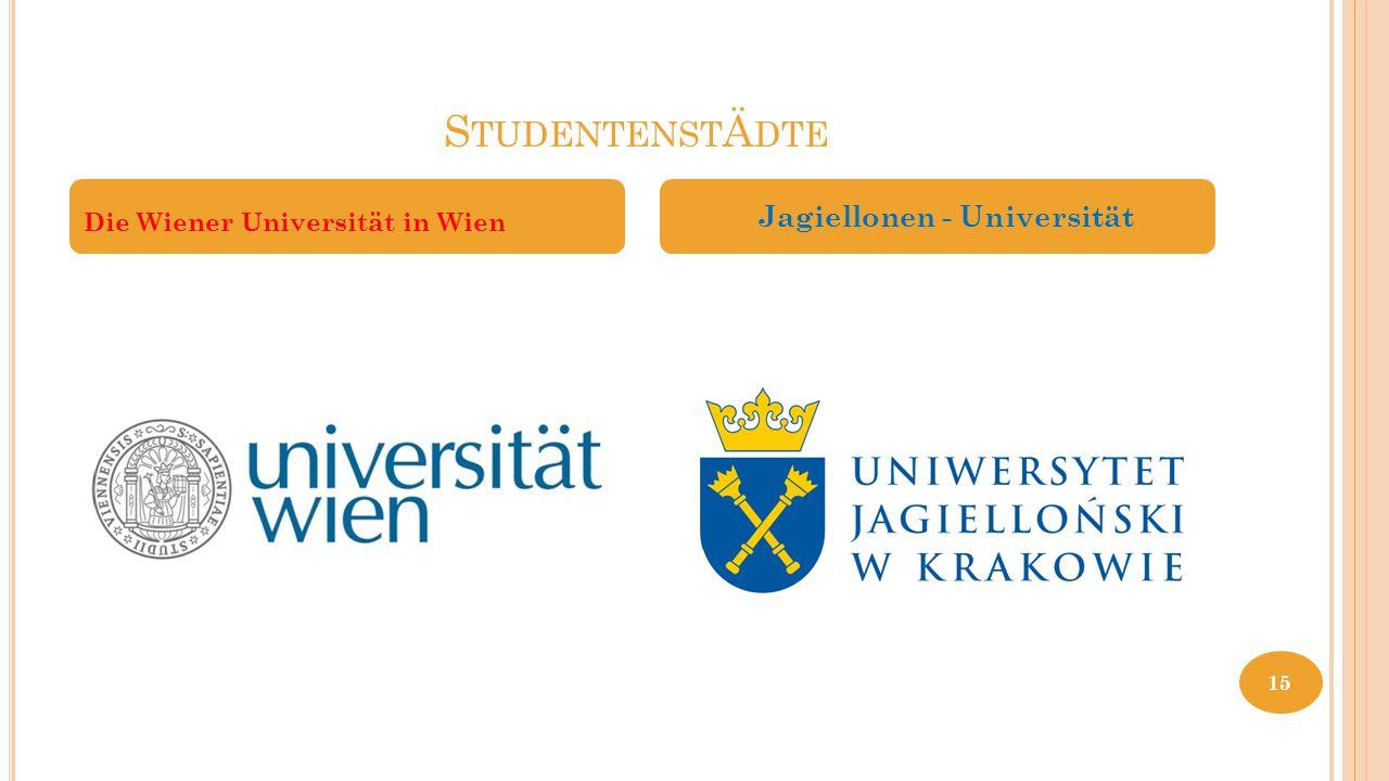 S TUDENTENST Ä DTE Die Wiener Universität in Wien Jagiellonen - Universität 15