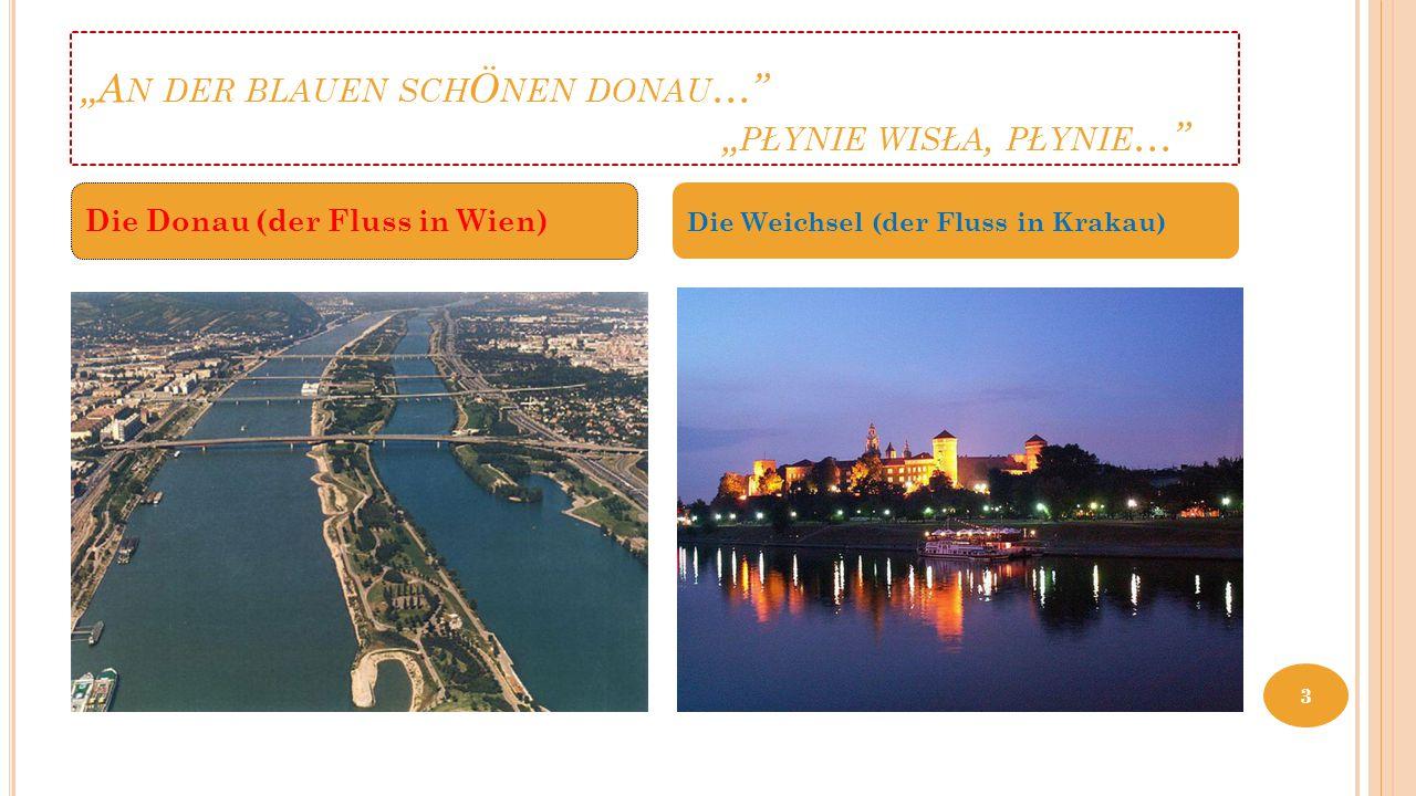 """""""A N DER BLAUEN SCH Ö NEN DONAU …"""" """" PŁYNIE WISŁA, PŁYNIE …"""" Die Donau (der Fluss in Wien) Die Weichsel (der Fluss in Krakau) 3"""