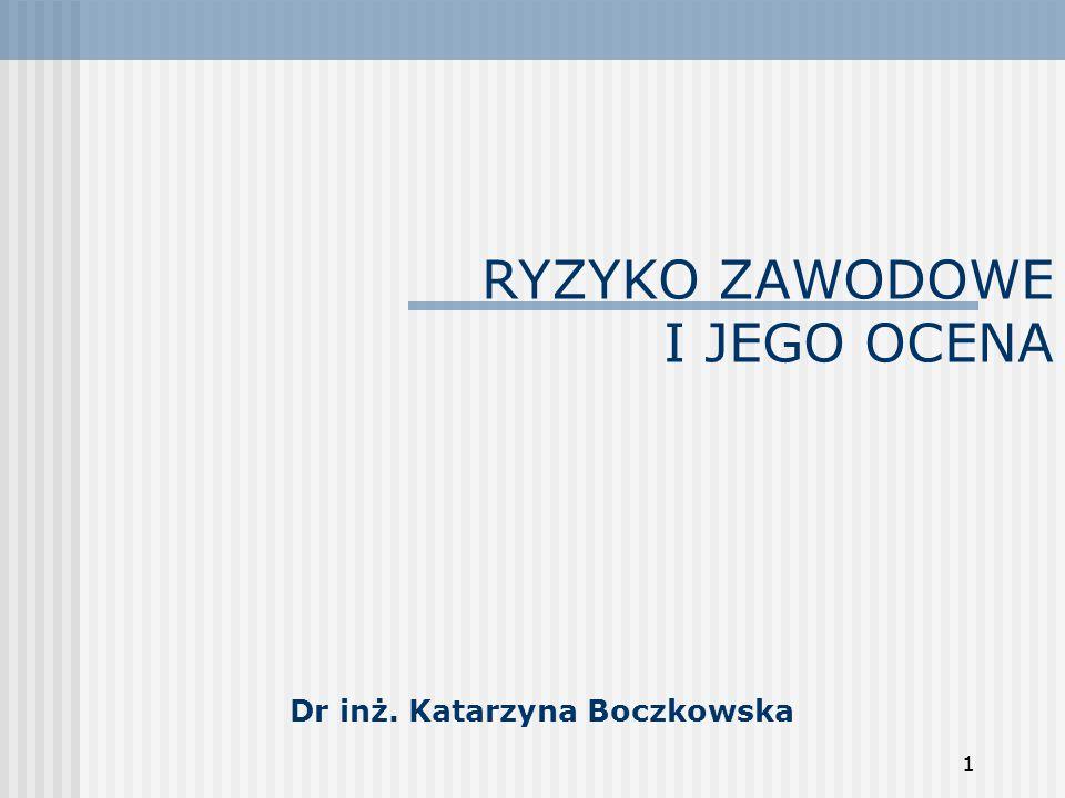 1 RYZYKO ZAWODOWE I JEGO OCENA Dr inż. Katarzyna Boczkowska