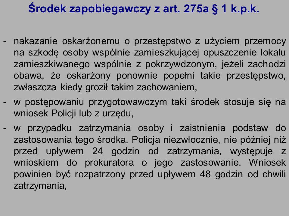Środek zapobiegawczy z art. 275a § 1 k.p.k. -nakazanie oskarżonemu o przestępstwo z użyciem przemocy na szkodę osoby wspólnie zamieszkującej opuszczen