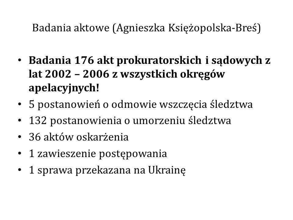 Badania aktowe (Agnieszka Księżopolska-Breś) Badania 176 akt prokuratorskich i sądowych z lat 2002 – 2006 z wszystkich okręgów apelacyjnych! 5 postano
