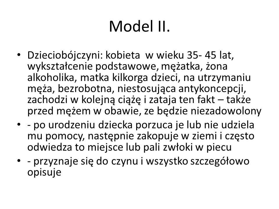 Model II. Dzieciobójczyni: kobieta w wieku 35- 45 lat, wykształcenie podstawowe, mężatka, żona alkoholika, matka kilkorga dzieci, na utrzymaniu męża,