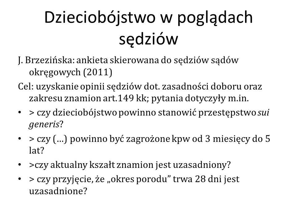 Dzieciobójstwo w poglądach sędziów J. Brzezińska: ankieta skierowana do sędziów sądów okręgowych (2011) Cel: uzyskanie opinii sędziów dot. zasadności