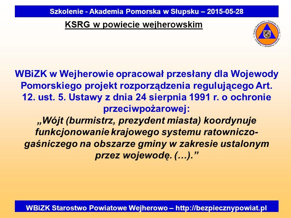 WBiZK Starostwo Powiatowe Wejherowo – http://bezpiecznypowiat.pl Szkolenie - Akademia Pomorska w Słupsku – 2015-05-28 KSRG w powiecie wejherowskim WBiZK w Wejherowie opracował przesłany dla Wojewody Pomorskiego projekt rozporządzenia regulującego Art.