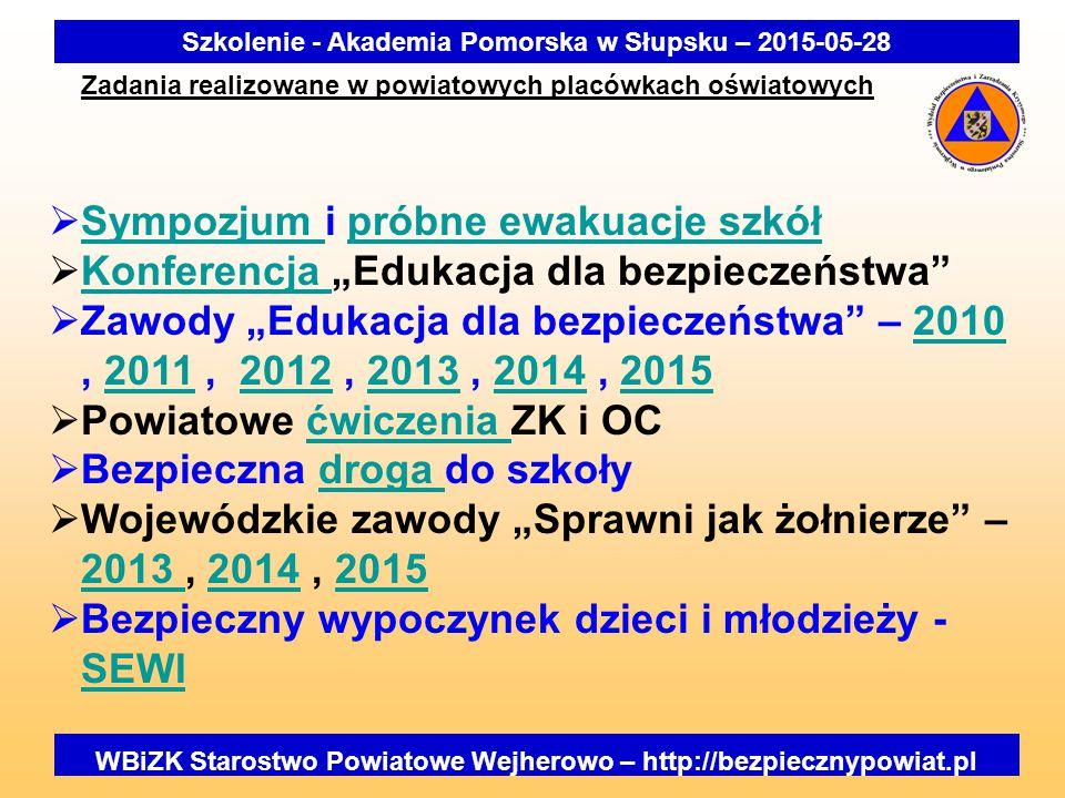 """Zadania realizowane w powiatowych placówkach oświatowych Szkolenie - Akademia Pomorska w Słupsku – 2015-05-28 WBiZK Starostwo Powiatowe Wejherowo – http://bezpiecznypowiat.pl  Sympozjum i próbne ewakuacje szkół Sympozjum próbne ewakuacje szkół  Konferencja """"Edukacja dla bezpieczeństwa Konferencja  Zawody """"Edukacja dla bezpieczeństwa – 2010, 2011, 2012, 2013, 2014, 2015201020112012201320142015  Powiatowe ćwiczenia ZK i OCćwiczenia  Bezpieczna droga do szkołydroga  Wojewódzkie zawody """"Sprawni jak żołnierze – 2013, 2014, 2015 2013 20142015  Bezpieczny wypoczynek dzieci i młodzieży - SEWI SEWI"""