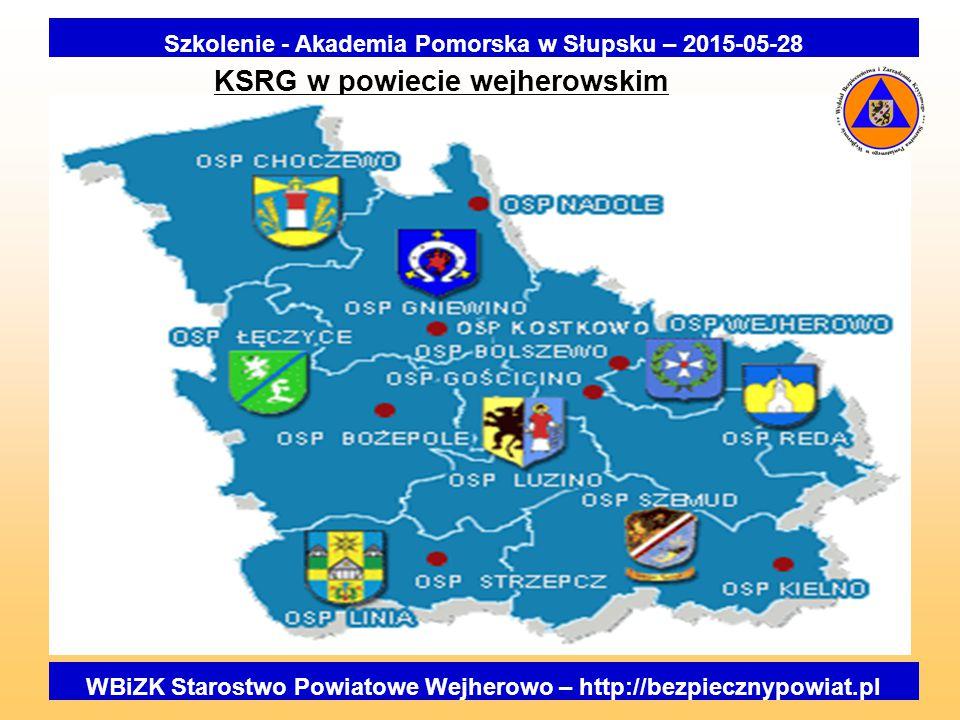 KSRG w powiecie wejherowskim Szkolenie - Akademia Pomorska w Słupsku – 2015-05-28 WBiZK Starostwo Powiatowe Wejherowo – http://bezpiecznypowiat.pl