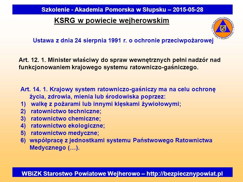 Szkolenie - Akademia Pomorska w Słupsku – 2015-05-28 KSRG w powiecie wejherowskim Ustawa z dnia 24 sierpnia 1991 r. o ochronie przeciwpożarowej Art. 1