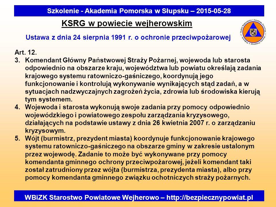 WBiZK Starostwo Powiatowe Wejherowo – http://bezpiecznypowiat.pl Szkolenie - Akademia Pomorska w Słupsku – 2015-05-28 KSRG w powiecie wejherowskim Ustawa z dnia 24 sierpnia 1991 r.