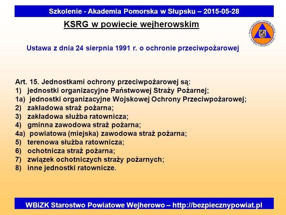 WBiZK Starostwo Powiatowe Wejherowo – http://bezpiecznypowiat.pl Szkolenie - Akademia Pomorska w Słupsku – 2015-05-28 KSRG w powiecie wejherowskim Ust