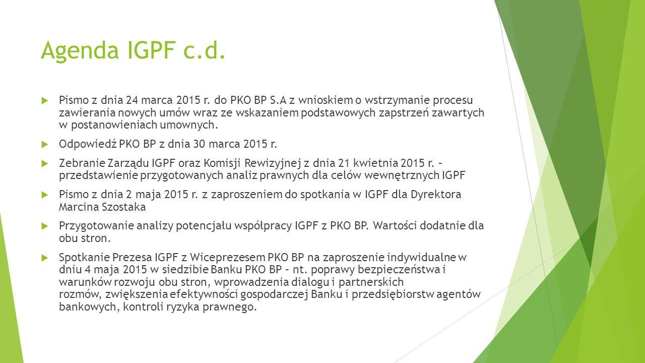 Agenda IGPF c.d. Pismo z dnia 24 marca 2015 r.