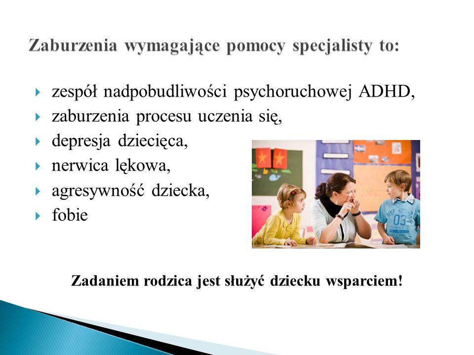  zespół nadpobudliwości psychoruchowej ADHD,  zaburzenia procesu uczenia się,  depresja dziecięca,  nerwica lękowa,  agresywność dziecka,  fobie Zadaniem rodzica jest służyć dziecku wsparciem!