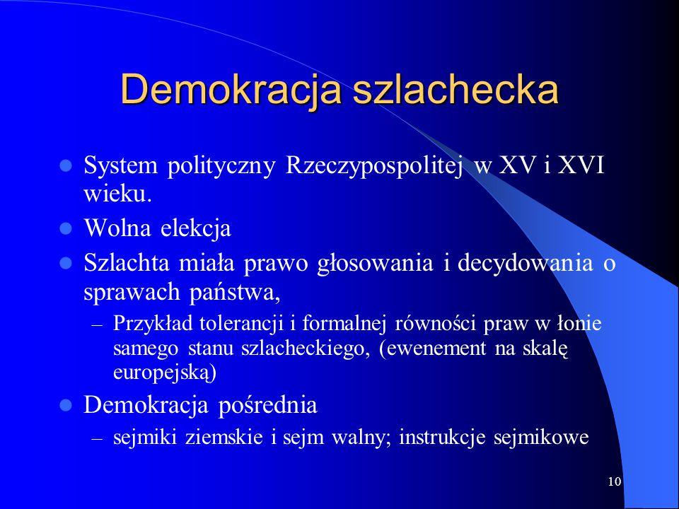 10 Demokracja szlachecka System polityczny Rzeczypospolitej w XV i XVI wieku. Wolna elekcja Szlachta miała prawo głosowania i decydowania o sprawach p