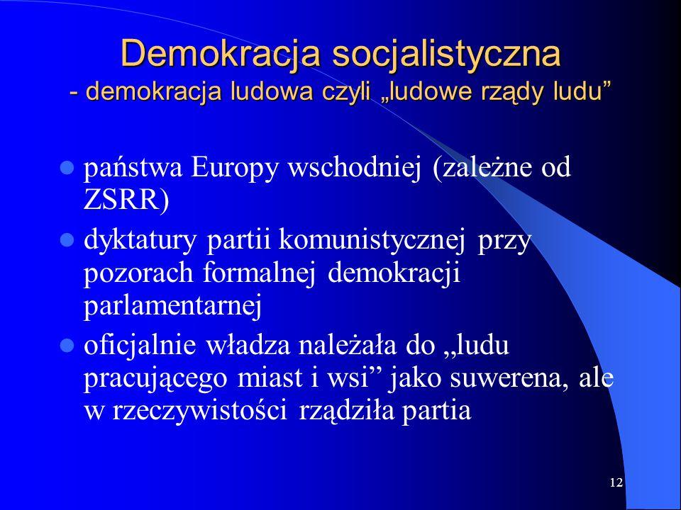"""12 Demokracja socjalistyczna - demokracja ludowa czyli """"ludowe rządy ludu"""" państwa Europy wschodniej (zależne od ZSRR) dyktatury partii komunistycznej"""