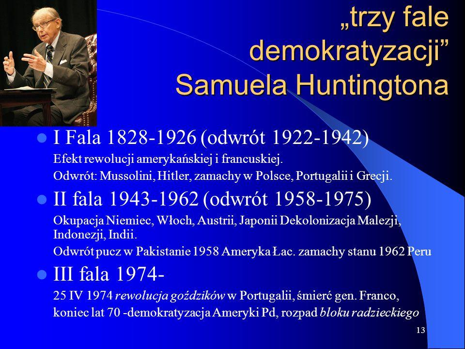 """13 """"trzy fale demokratyzacji"""" Samuela Huntingtona I Fala 1828-1926 (odwrót 1922-1942) Efekt rewolucji amerykańskiej i francuskiej. Odwrót: Mussolini,"""