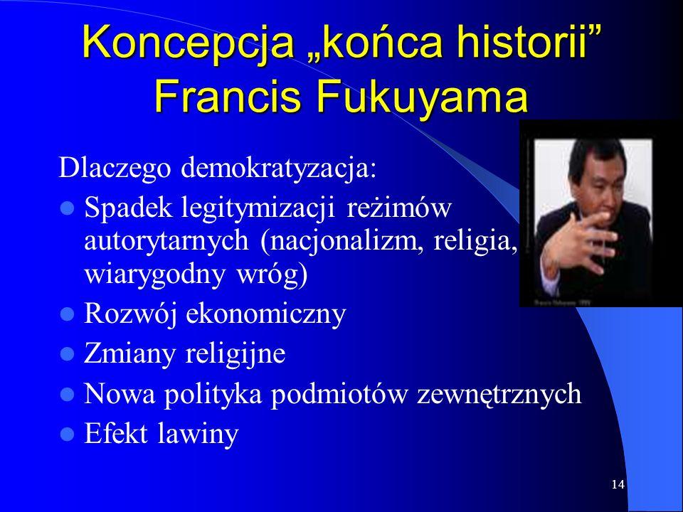"""14 Koncepcja """"końca historii"""" Francis Fukuyama Dlaczego demokratyzacja: Spadek legitymizacji reżimów autorytarnych (nacjonalizm, religia, wiarygodny w"""