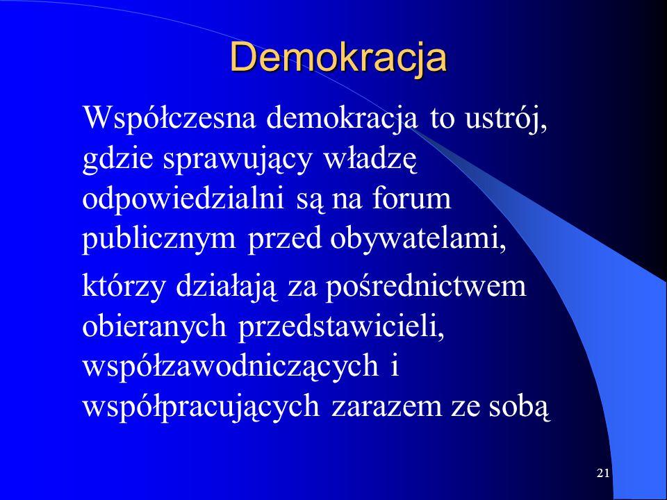 21 Demokracja Współczesna demokracja to ustrój, gdzie sprawujący władzę odpowiedzialni są na forum publicznym przed obywatelami, którzy działają za po