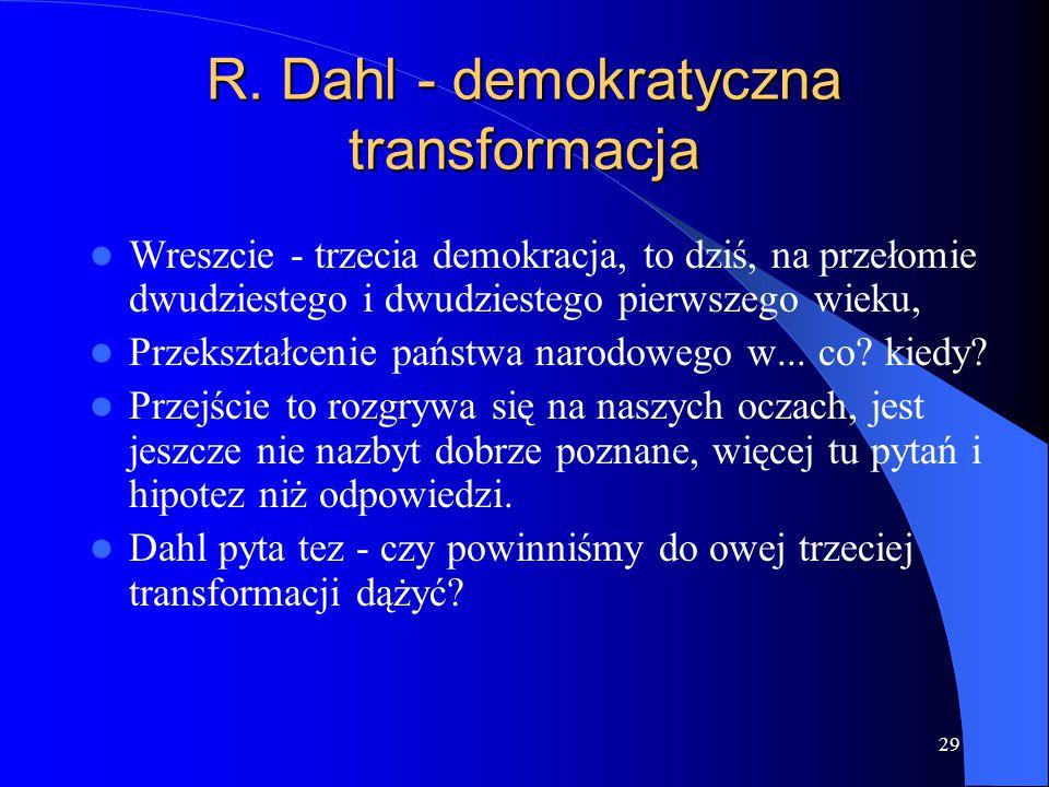 29 Wreszcie - trzecia demokracja, to dziś, na przełomie dwudziestego i dwudziestego pierwszego wieku, Przekształcenie państwa narodowego w... co? kied