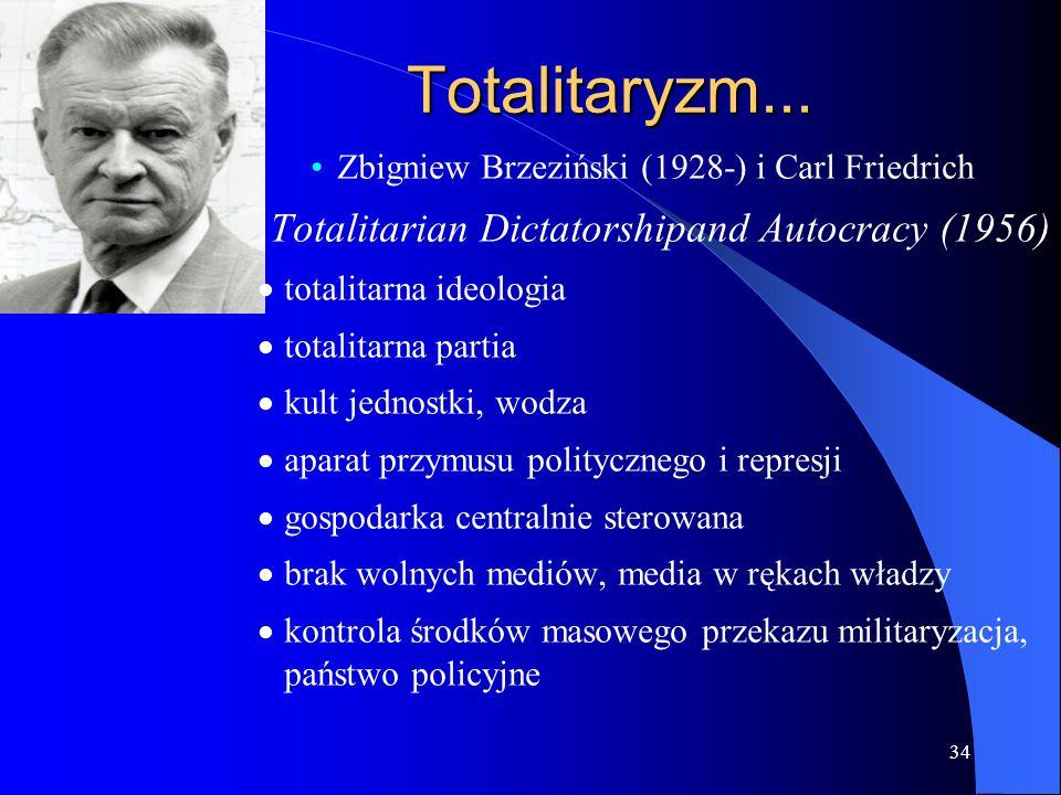 34 Totalitaryzm... Zbigniew Brzeziński (1928-) i Carl Friedrich Totalitarian Dictatorshipand Autocracy (1956)  totalitarna ideologia  totalitarna pa
