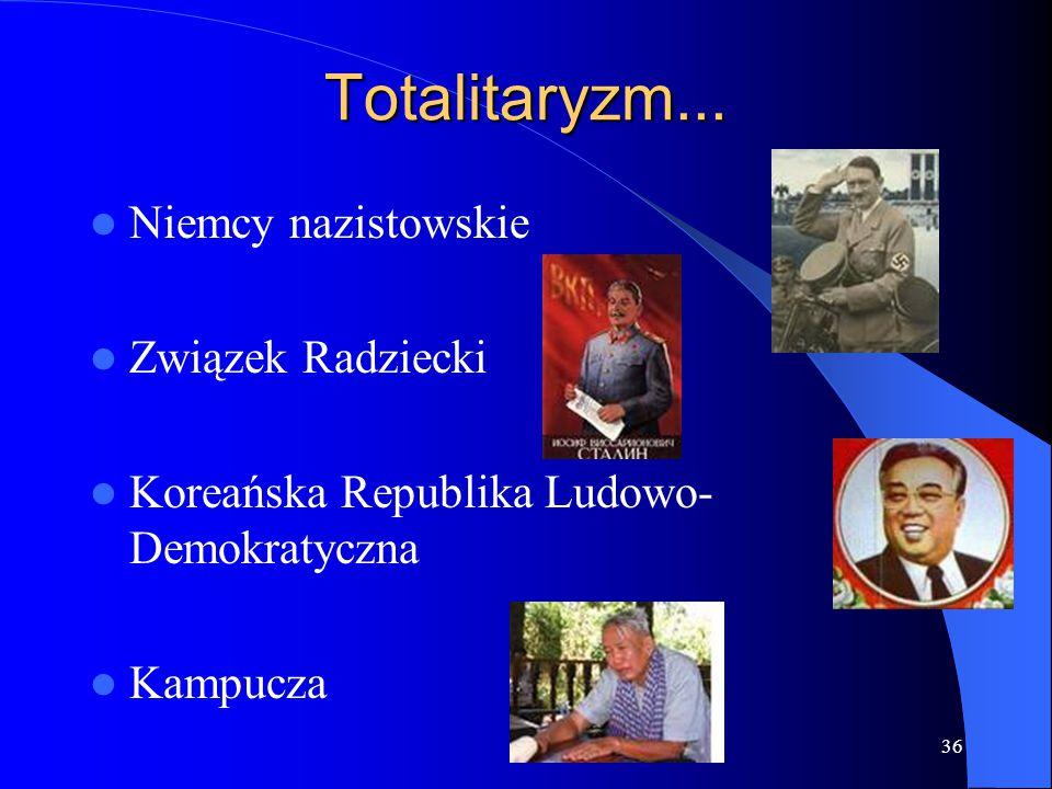 36 Totalitaryzm... Niemcy nazistowskie Związek Radziecki Koreańska Republika Ludowo- Demokratyczna Kampucza