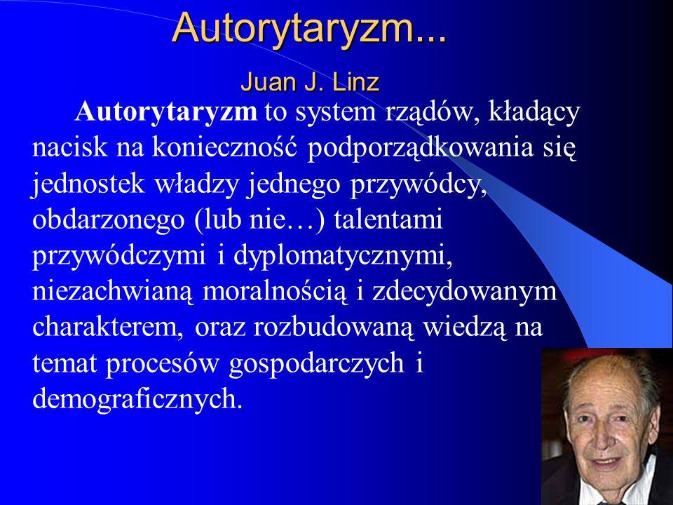 37 Autorytaryzm... Juan J. Linz Autorytaryzm to system rządów, kładący nacisk na konieczność podporządkowania się jednostek władzy jednego przywódcy,