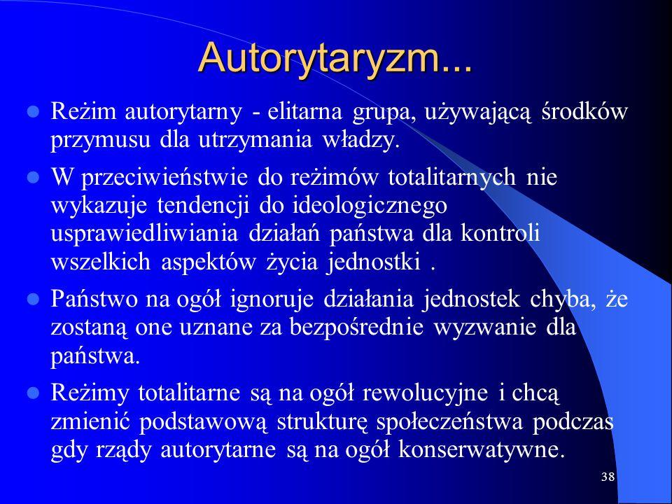 38 Autorytaryzm... Reżim autorytarny - elitarna grupa, używającą środków przymusu dla utrzymania władzy. W przeciwieństwie do reżimów totalitarnych ni